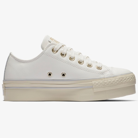 965602fae8d Converse Shoes - Converse White All Star Leather Platform Low Shoes